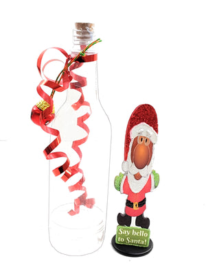 3D DARKER SKINNED SANTA CHRISTMAS GREETING IN A BOTTLE