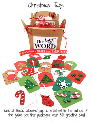 CHRISTMAS TAGS FOR 3D GREETING CARD GIFTS