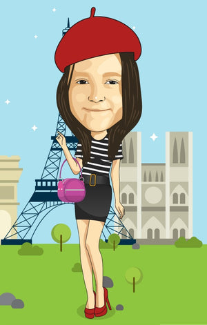 custom caricature of girl with Paris background