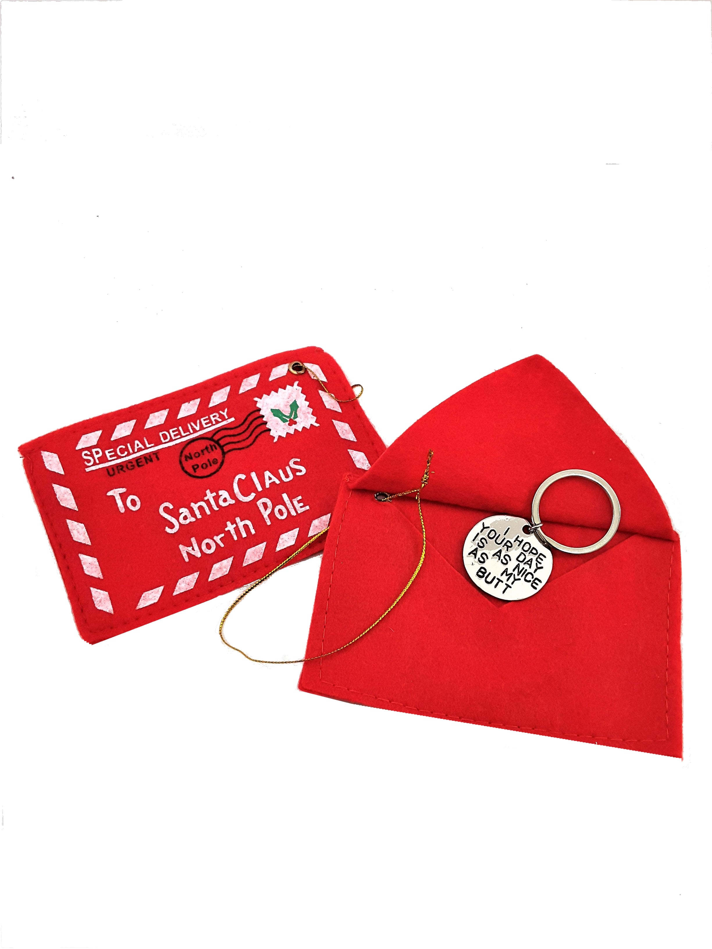 SANTA'S SPECIAL DELIVERY DRAWSTRING BAG FOR KEYCHAIN