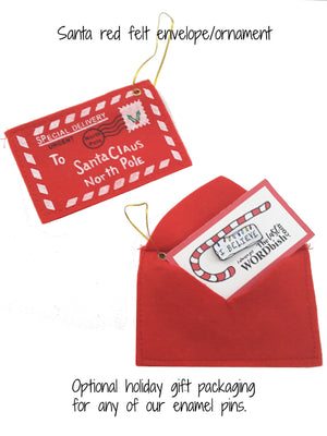SANTA ENVELOPE & ORNAMENT FOR ENAMEL PIN