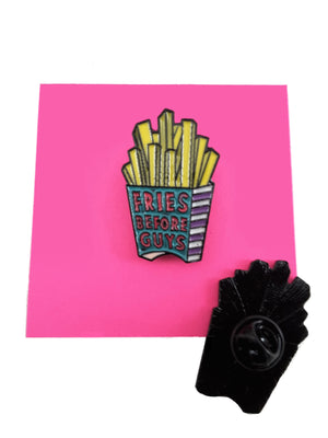 FRIES BEFORE GUYS ENAMEL PIN FRONT & BACK