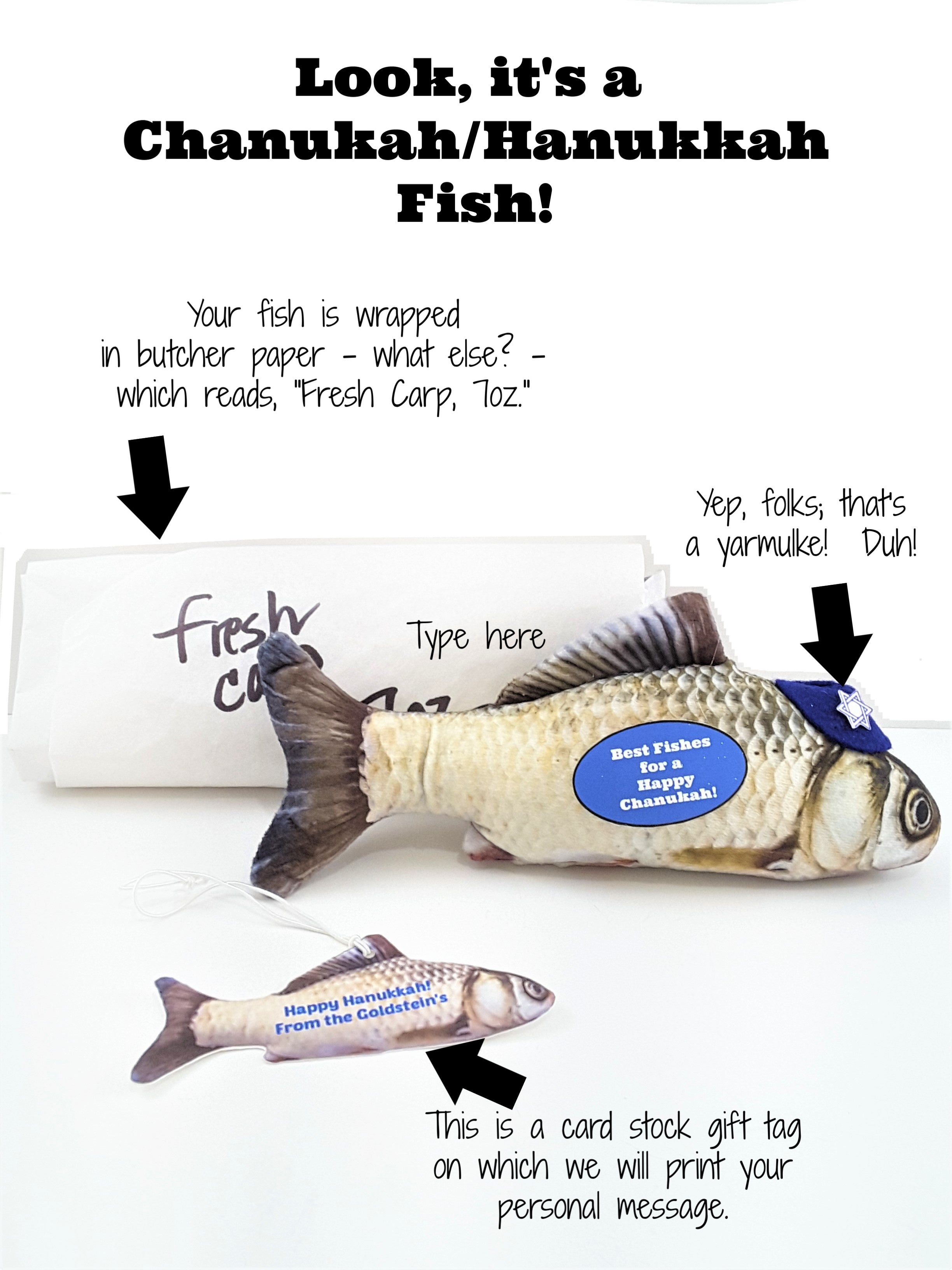 "Happy Hanukkah Best Wishes with Fishes Personalized 3D ""Card"" - TheLastWordBish.com"