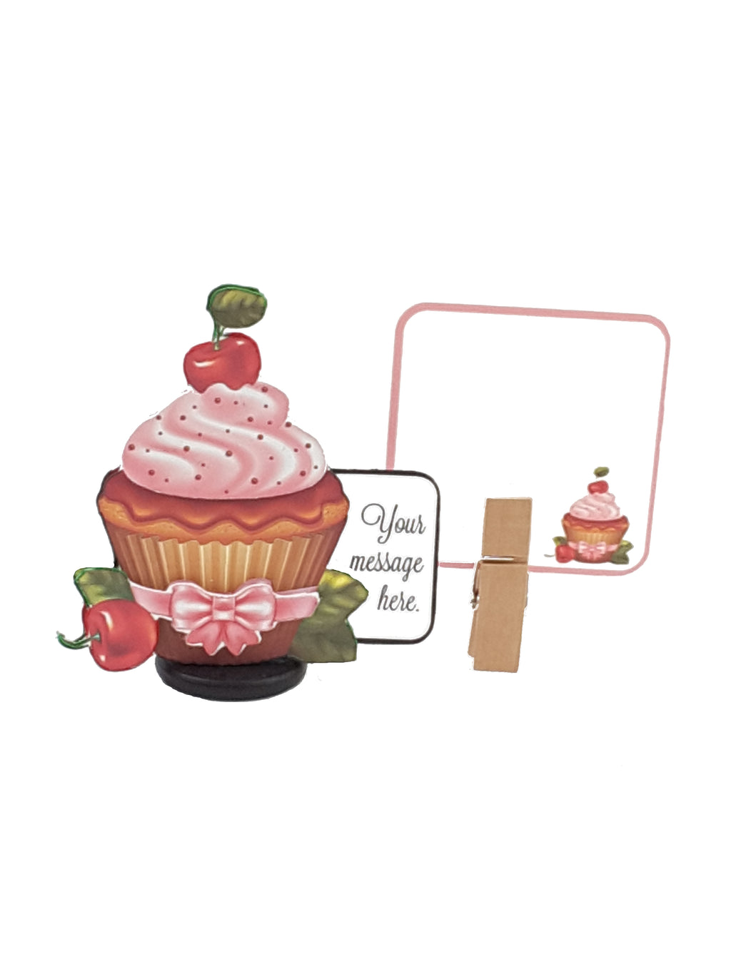 3D all occasion card with pink iced cupcake