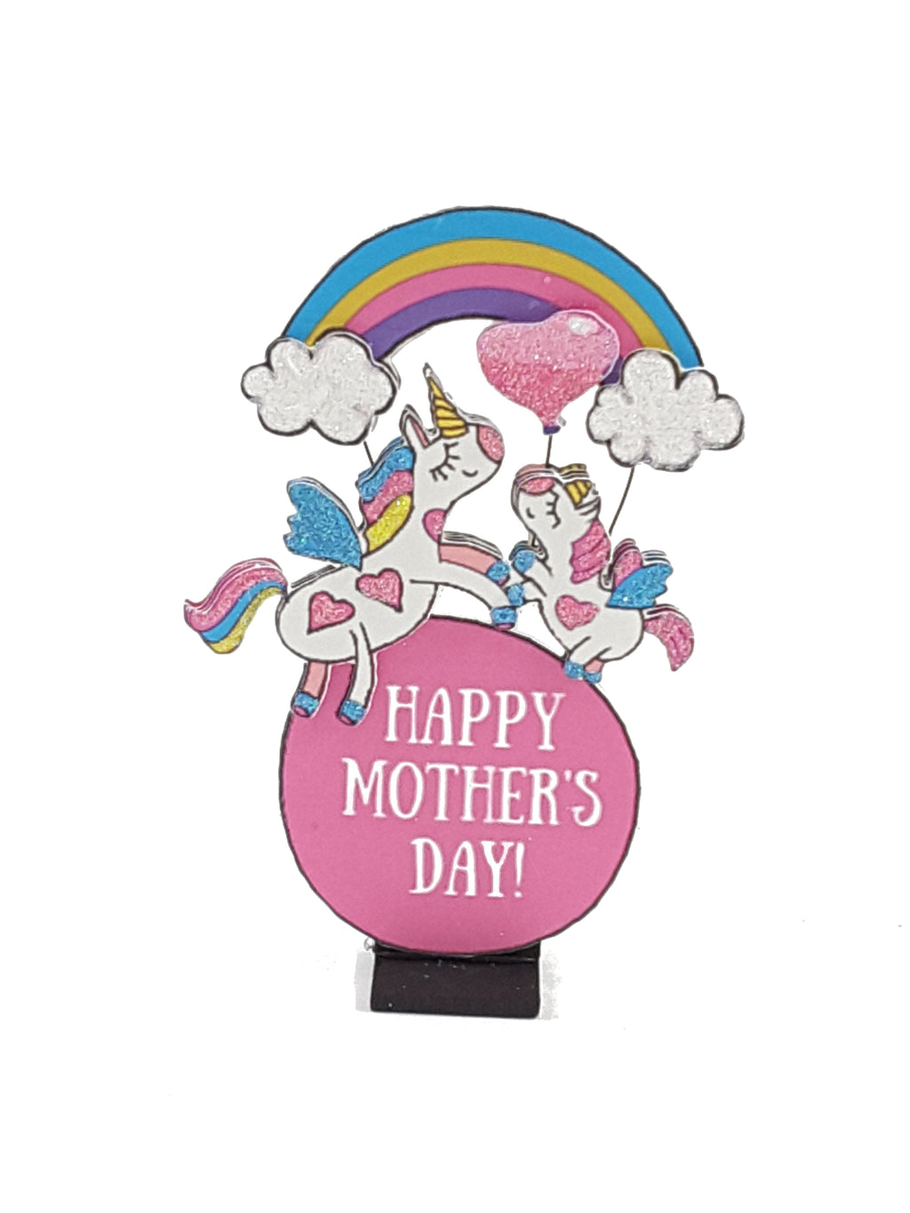 Personalized 3D Mother's Day Card with Unicorns - TheLastWordBish.com