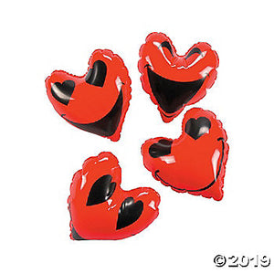 VALENTINE SMALL INFLATABLE RED GOOFY FACED HEARTS - TheLastWordBish.com