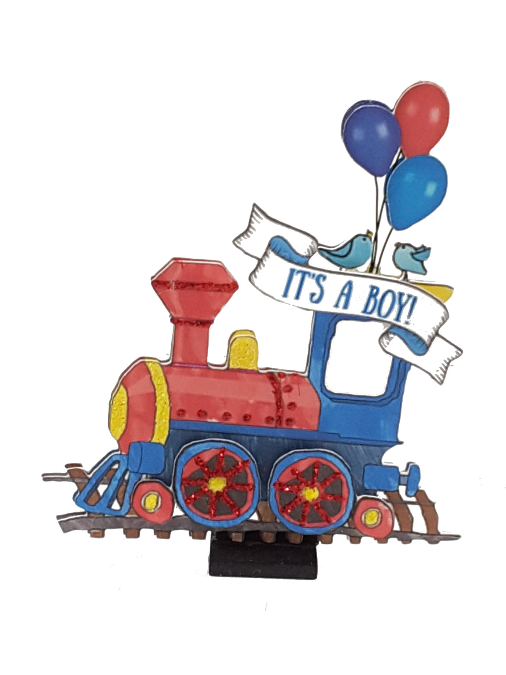 Personalized Train 3D It's a Boy card for newborn