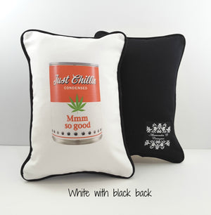 Funny Soup Can Denim Pillow Cover - TheLastWordBish.com