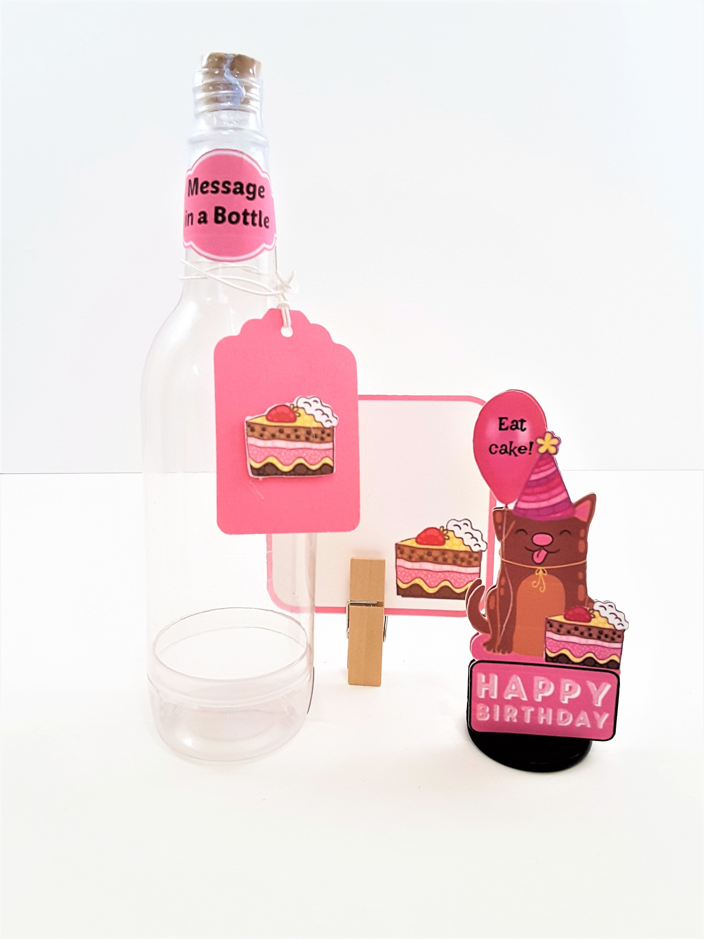 Message in a Bottle 3D Happy Birthday Card with Party Dog - TheLastWordBish.com