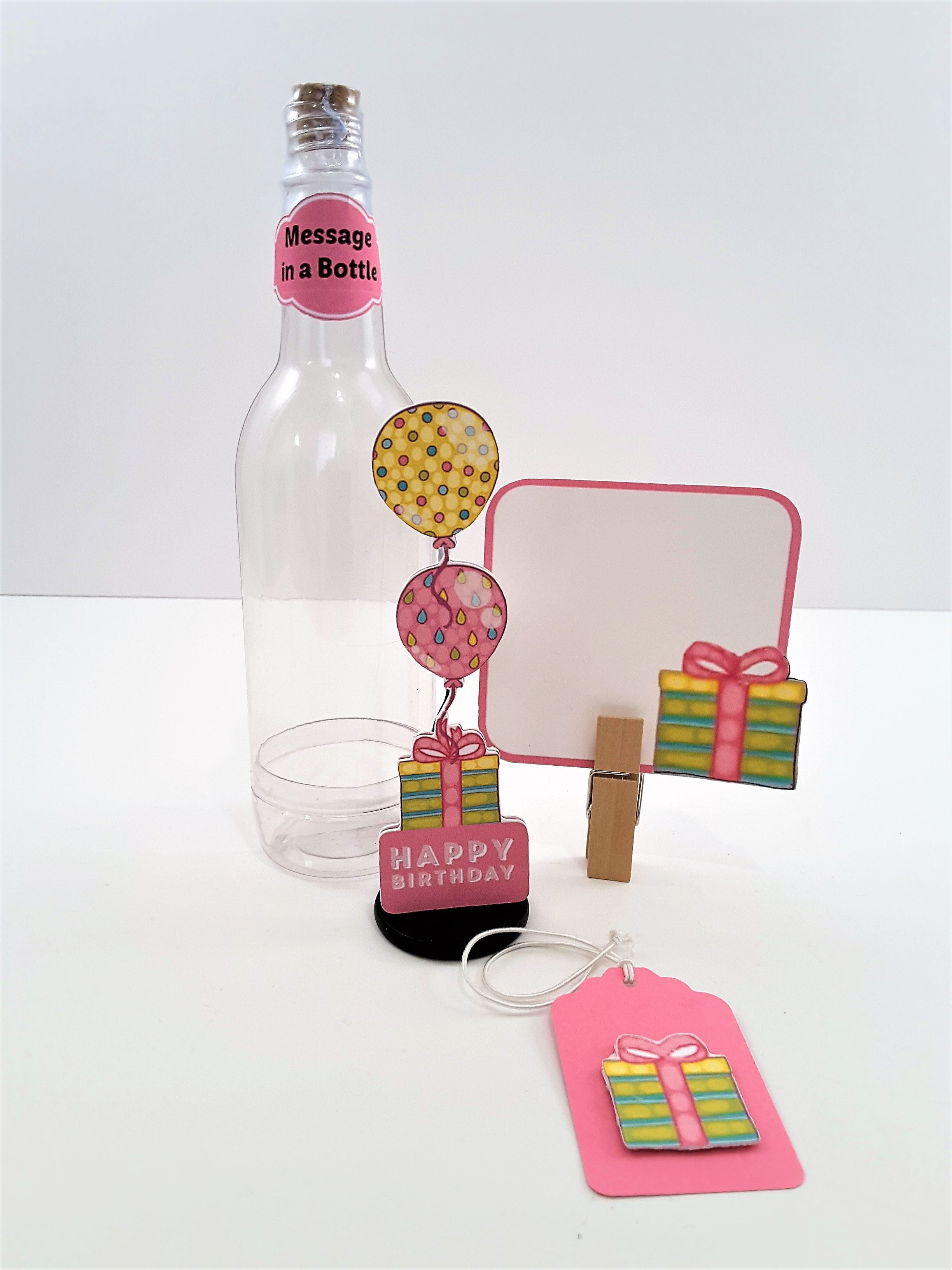 Message in a Bottle Personalized 3D Happy Birthday Card with Balloons - TheLastWordBish.com