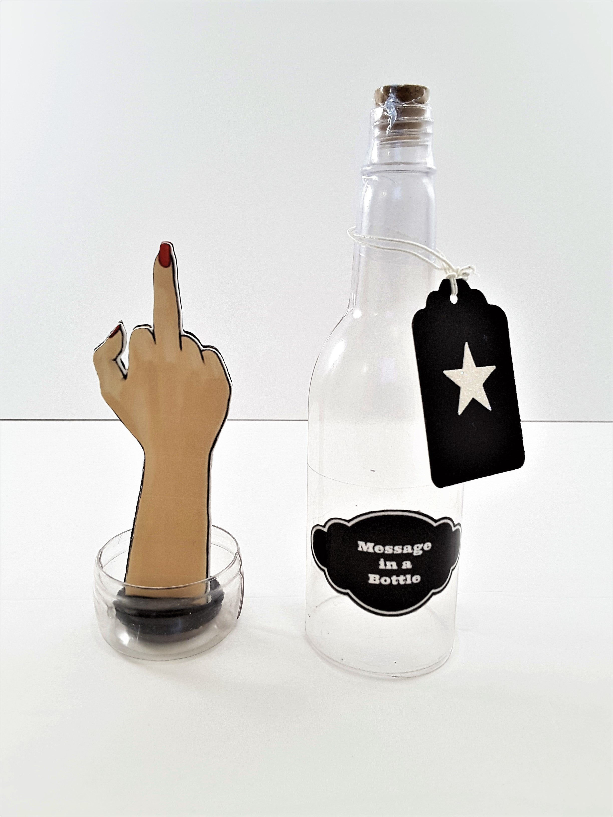 Middle Finger Salute Message in a Bottle - Female Hand - TheLastWordBish.com