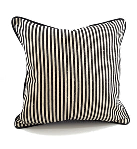 MEDIUM BLACK & NATURAL STRIPE PILLOW