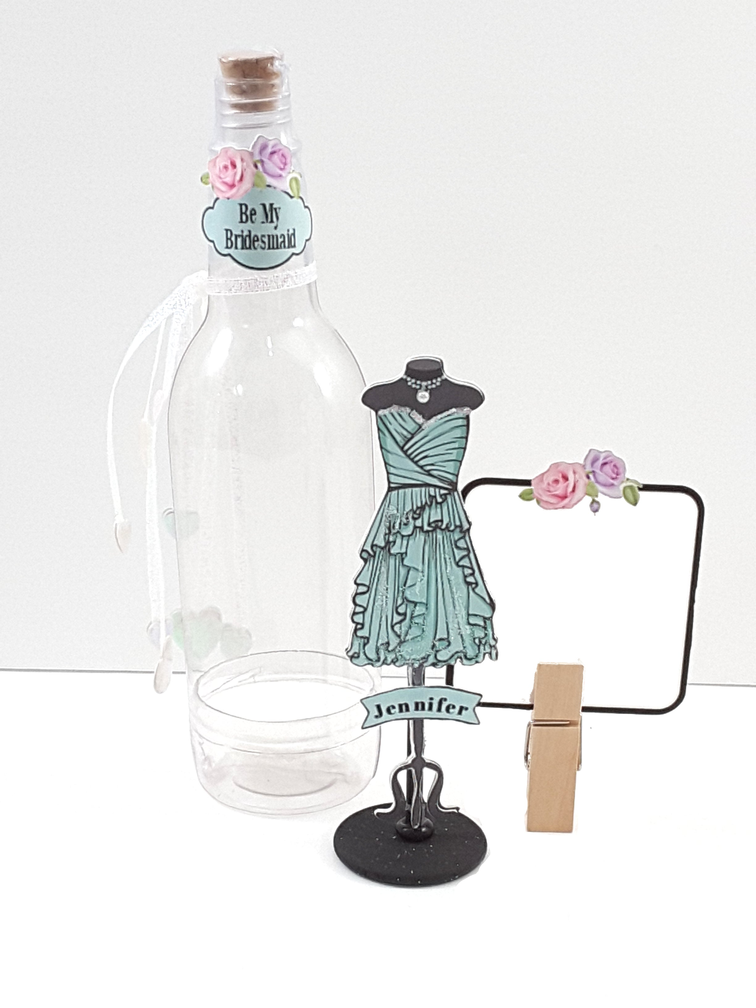 Personalized Handmade 3D Bridesmaid Message in a Bottle