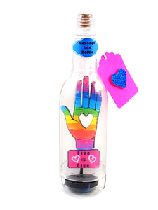 Love is Love LGTBQ Stand-Up Card Message in a Bottle