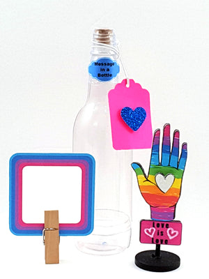 Love is Love LGTBQ Stand-Up Card Message in a Bottle - TheLastWordBish.com