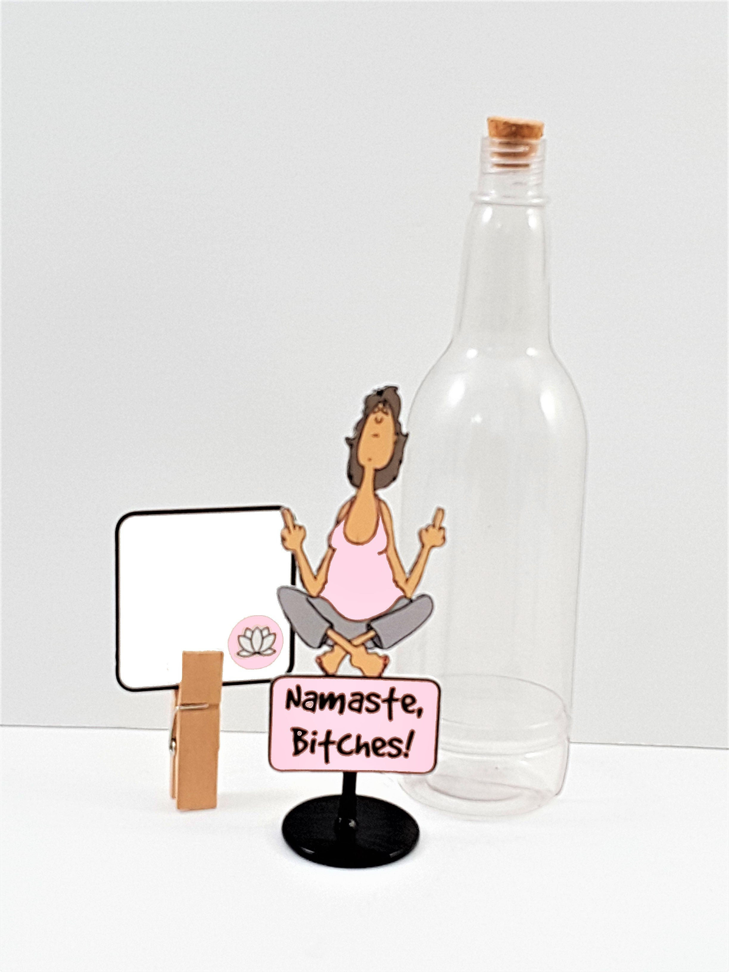 3D Yoga Lady Flipping the Bird Message in a Bottle - TheLastWordBish.com