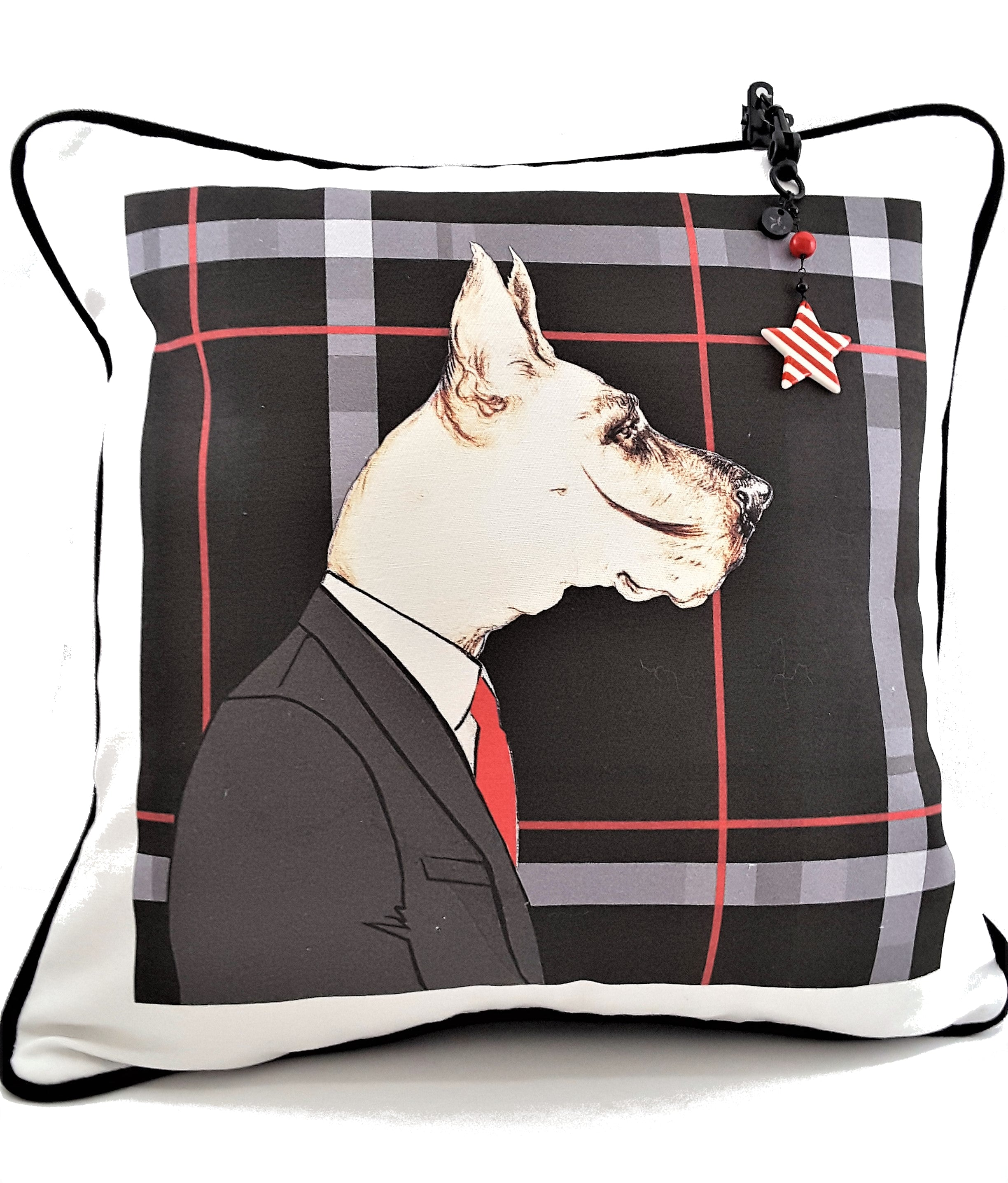 Greyhound Mr. Dog Designer Denim Pillow Cover - TheLastWordBish.com