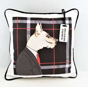 WHITE PRINTED PILLOW TAG ON MR. DOG PILLOW