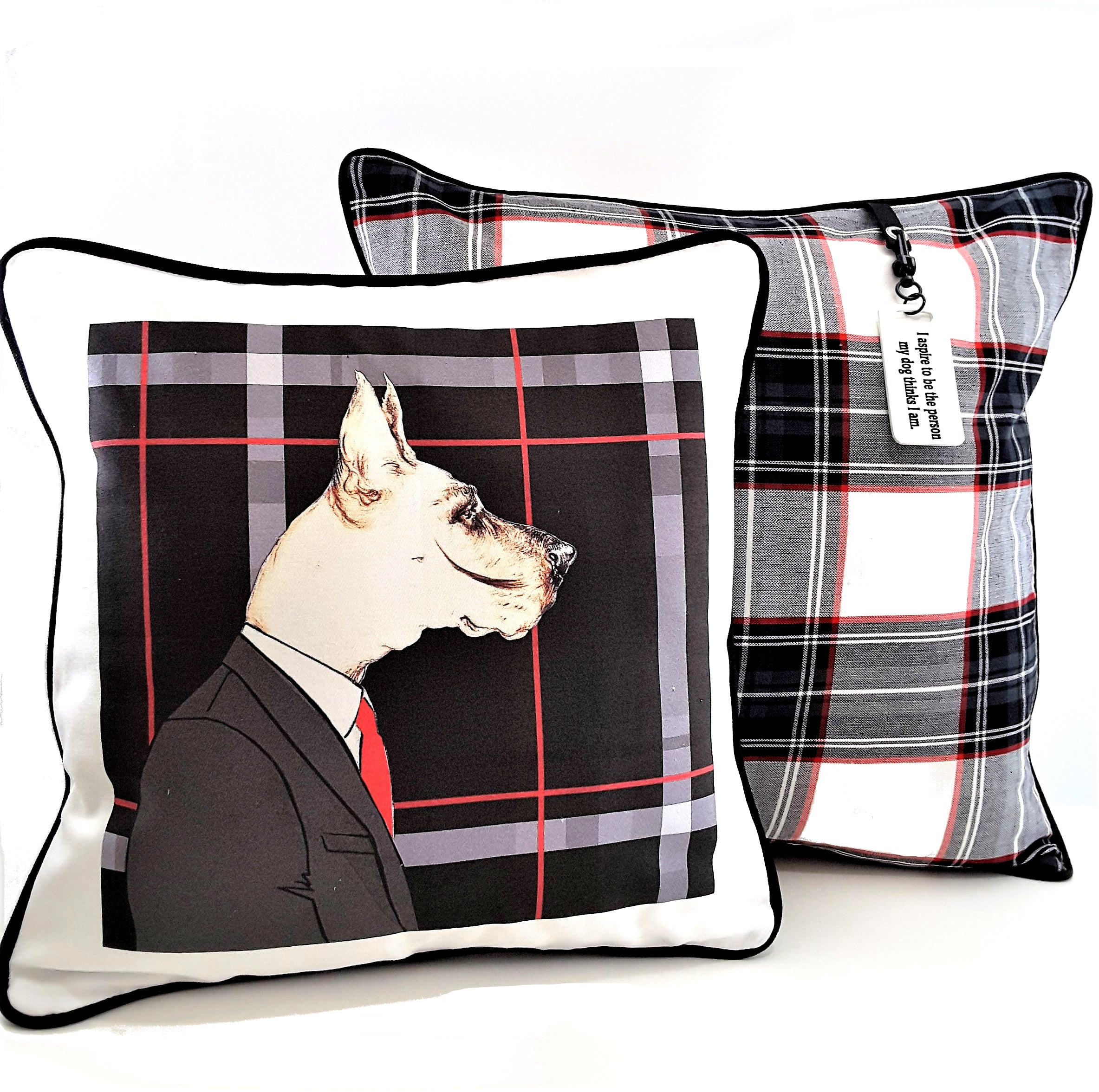 Greyhound Mr. Dog Designer Denim Pillow Cover - The Last Word Bish