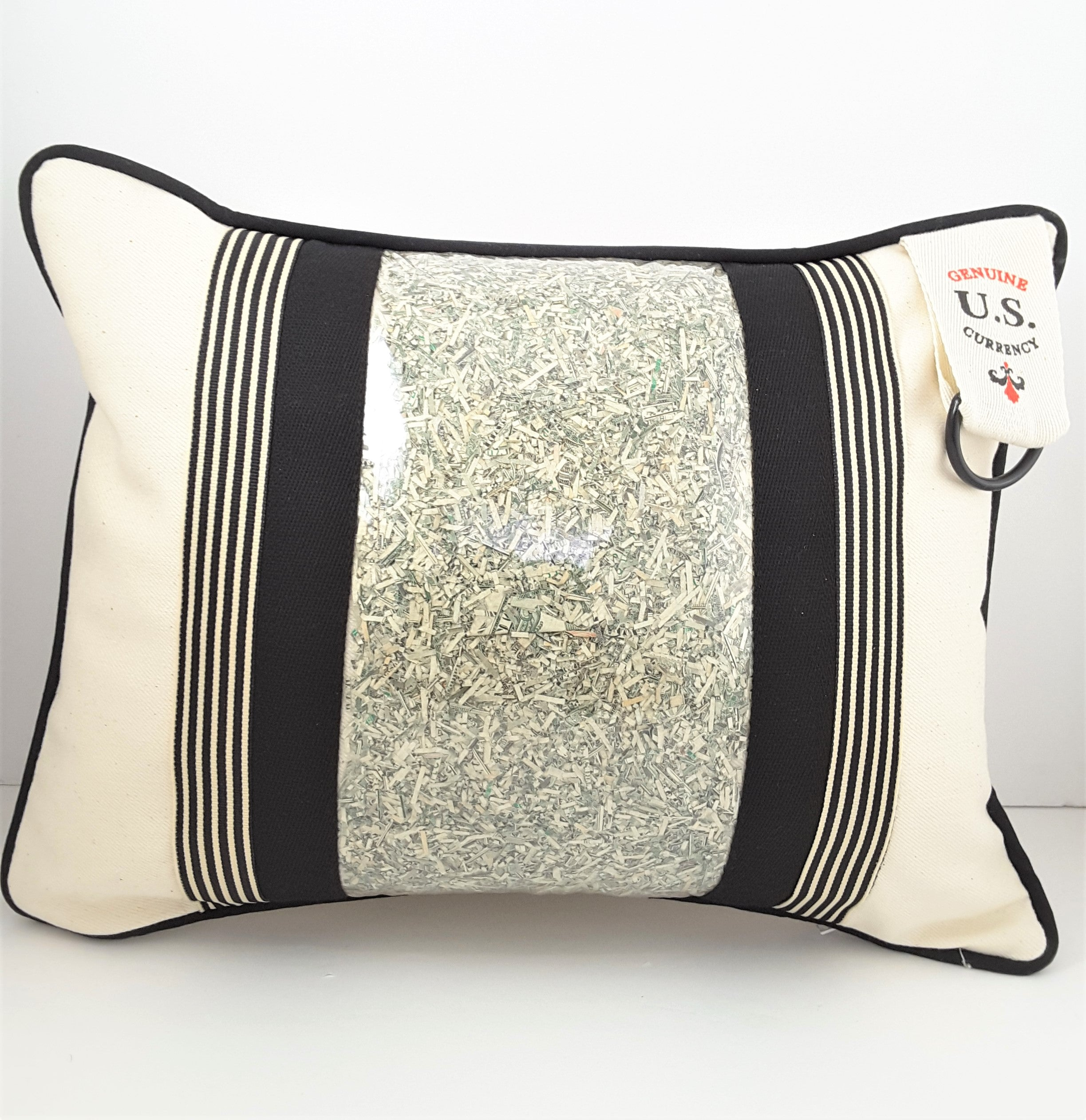 natural denim with black Prosperity Pillow with genuine U.S. currency