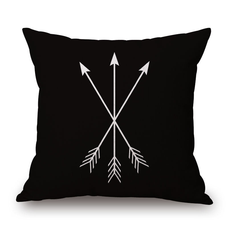 Black Pillow Cover with 3 white arrows - Free Shipping!
