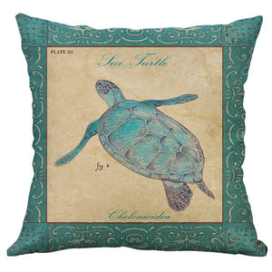 Mediterranean Flax Retro Sea Creatures on Decorator Pillow Covers - The Last Word Bish