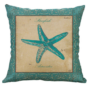 Mediterranean Flax Retro Sea Creatures on Decorator Pillow Covers - Free Shipping!