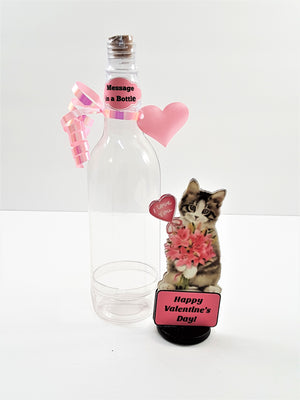 VALENTINE'S DAY 3D GREETING CARD - MESSAGE IN A BOTTLE - PRETTY I LOVE YOU KITTY - TheLastWordBish.com