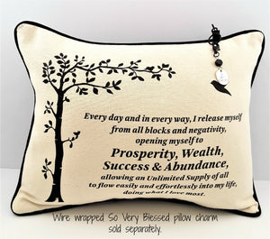 PROSPERITY AFFIRMATION PILLOW with hanging SO VERY BLESSED charm