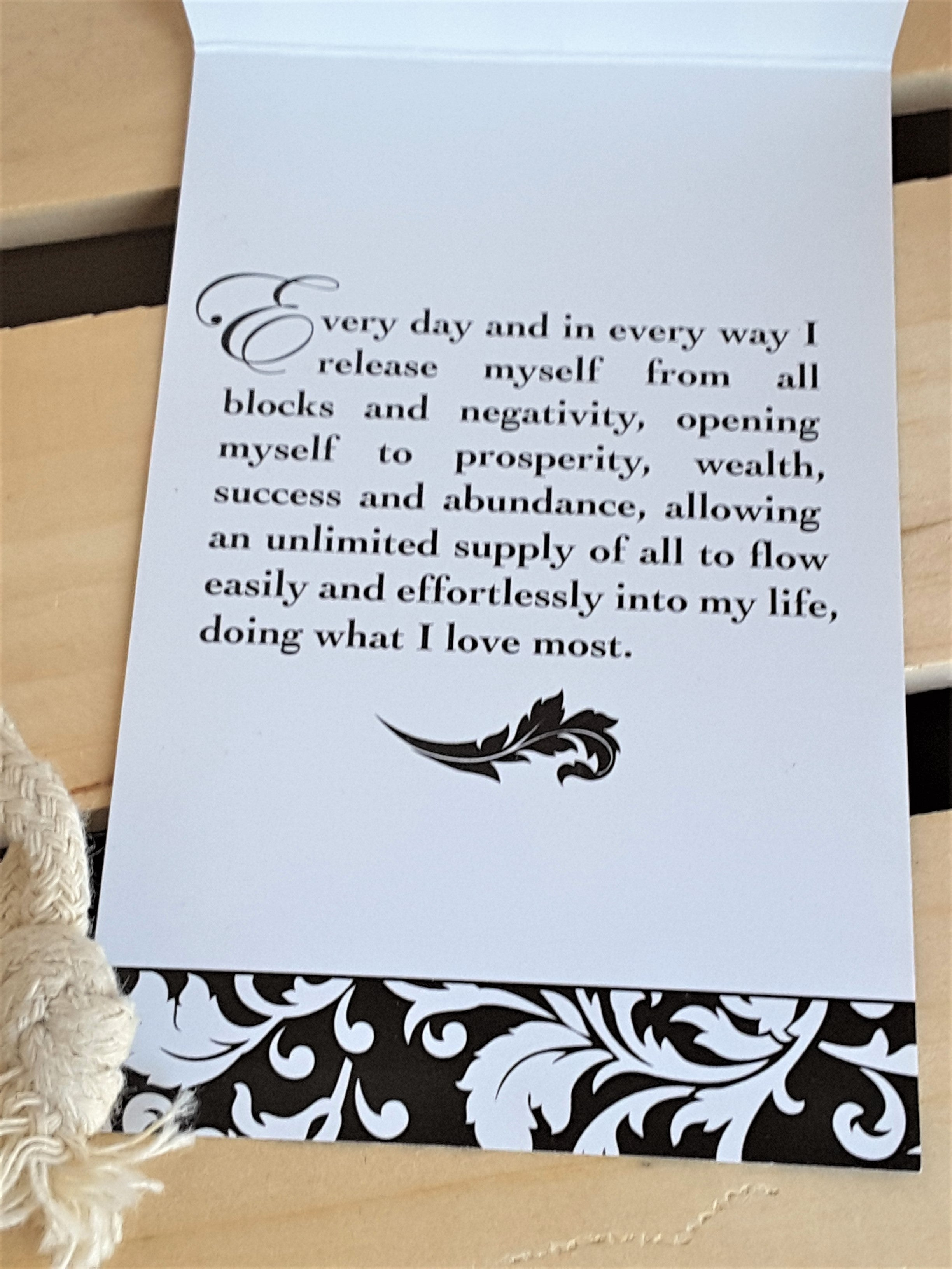 Prosperity Affirmation card that accompanies the Cash Bag Prosperity Pillow