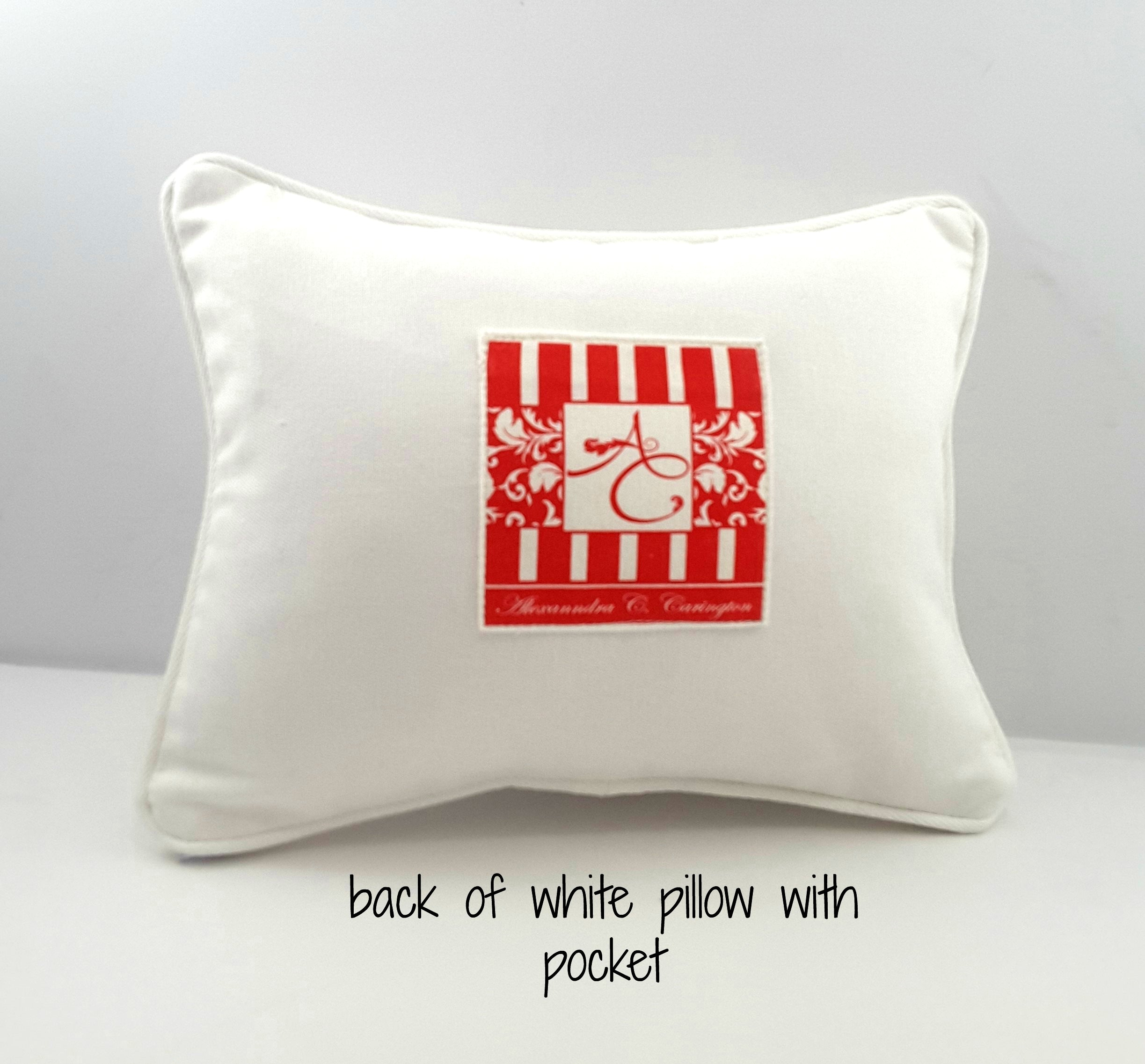 Push Button for Maid Service back of pillow with pocket