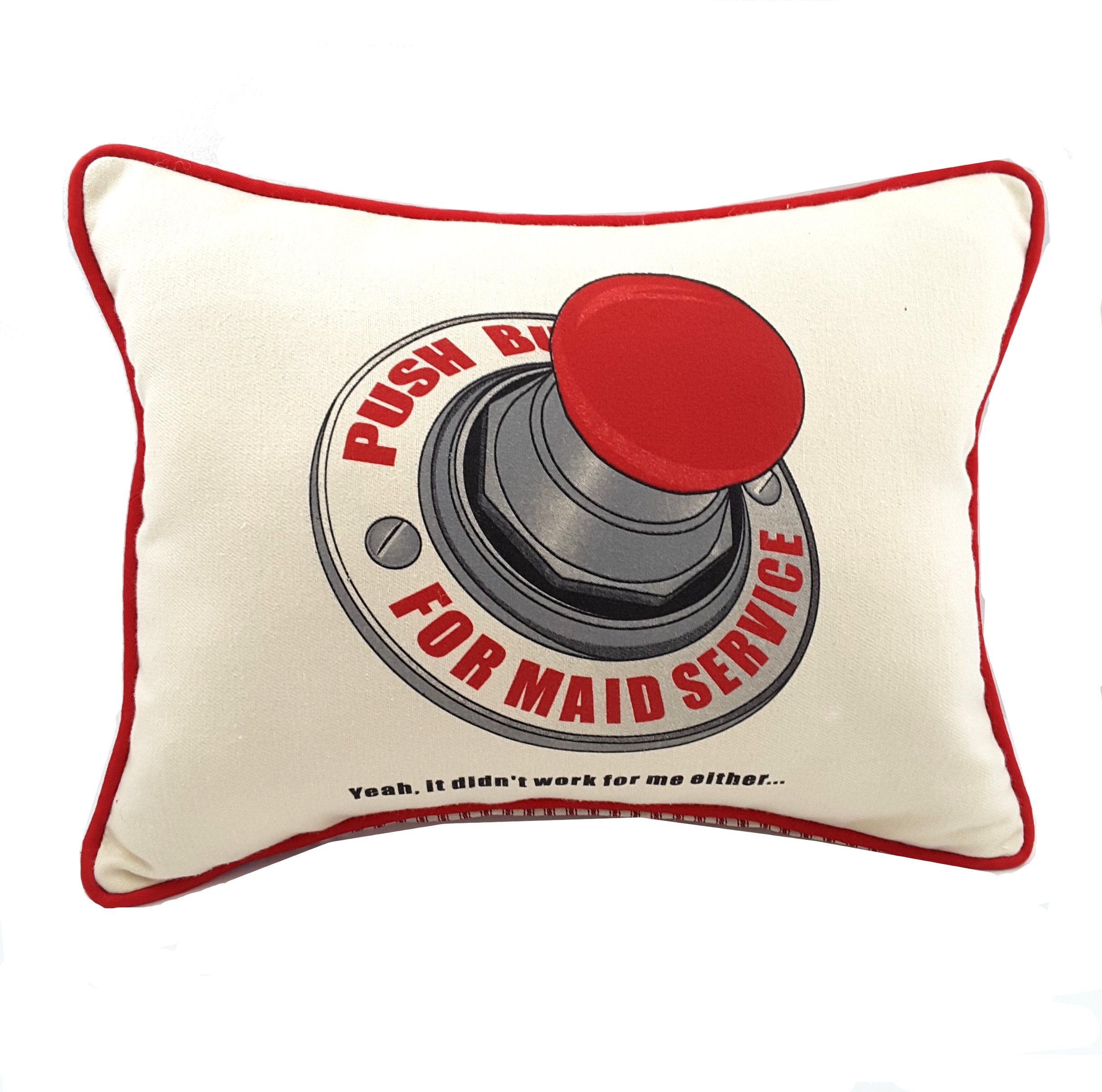 Natural Push Button for Maid Service pillow with red piping