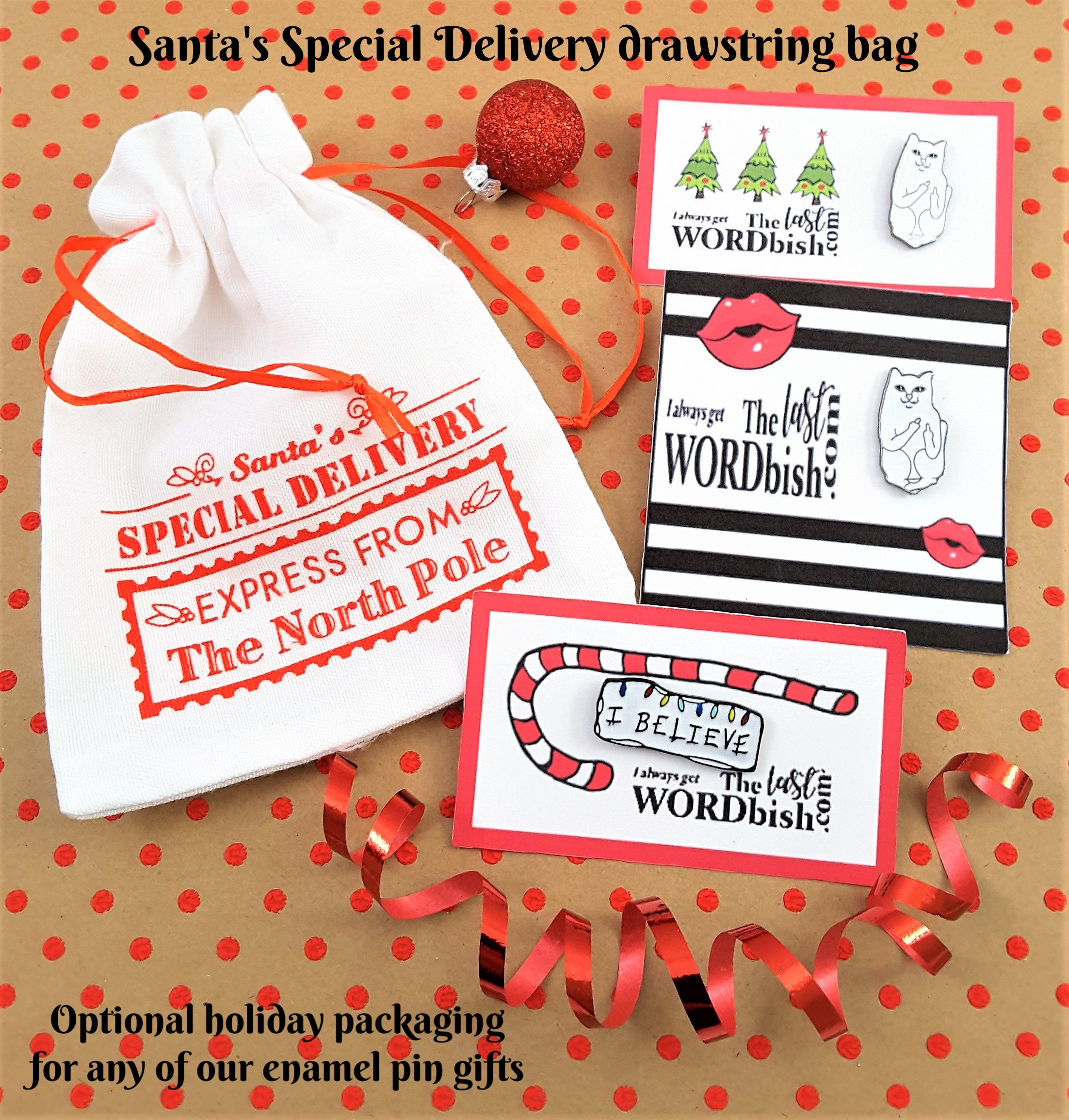 SANTA'S SPECIAL DELIVERY DRAWSTRING BAG FOR ENAMEL PINS