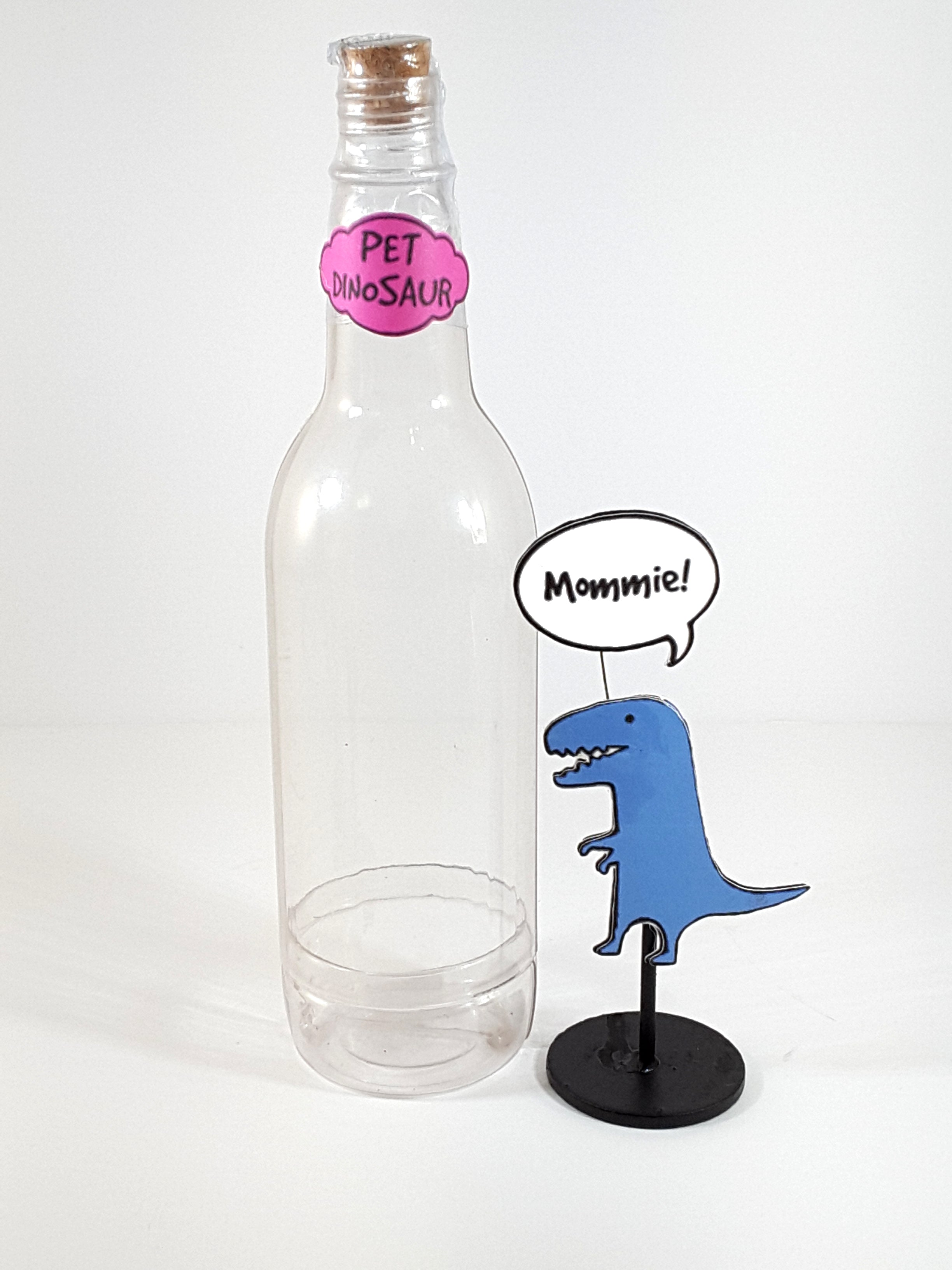 Funny, Personalized Stand Up All-occasion Greeting Card Pet Dinosaur in a Bottle - TheLastWordBish.com