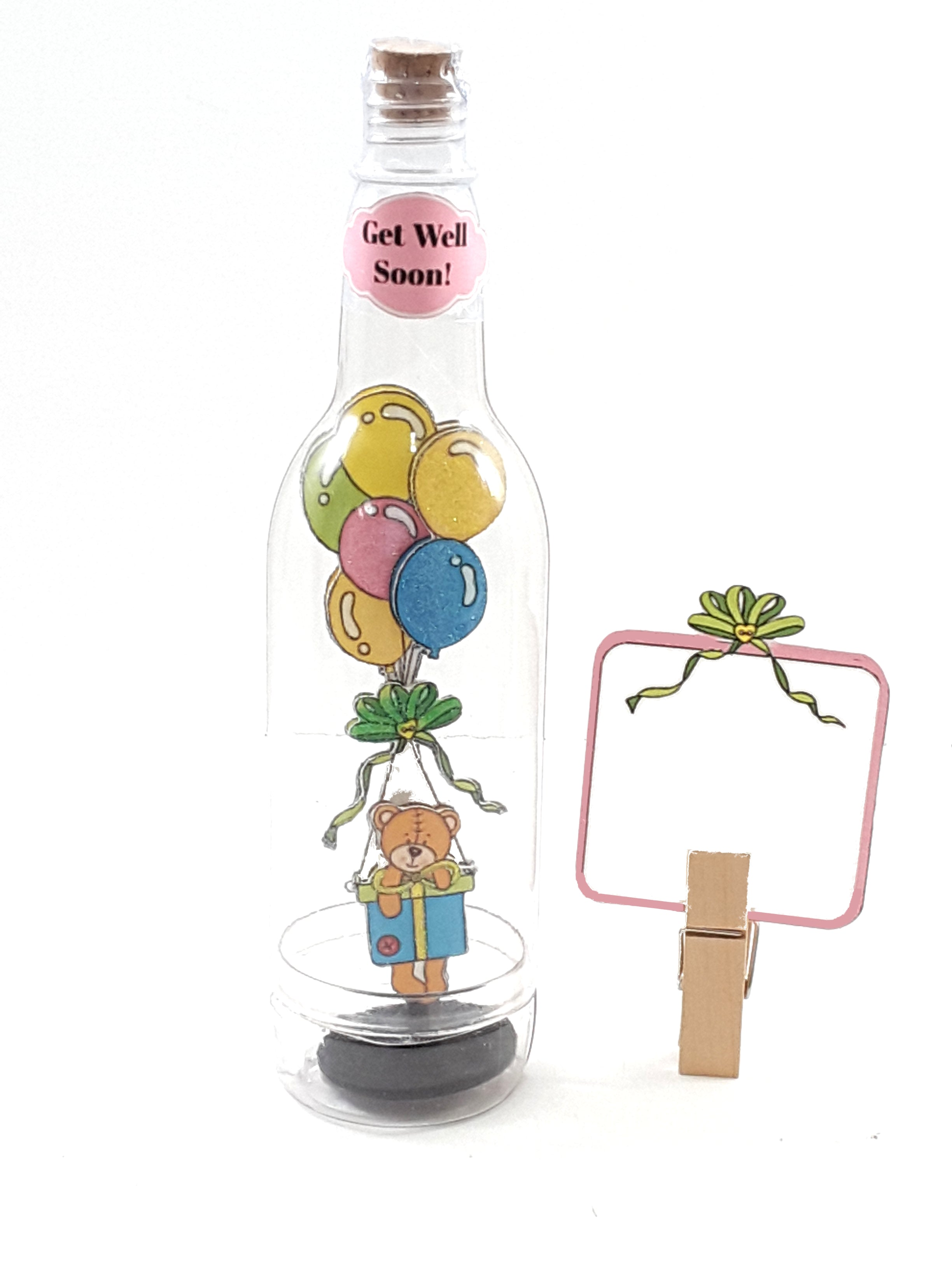All-Occasion Personalized Message in a Bottle with 3D Teddy Bear