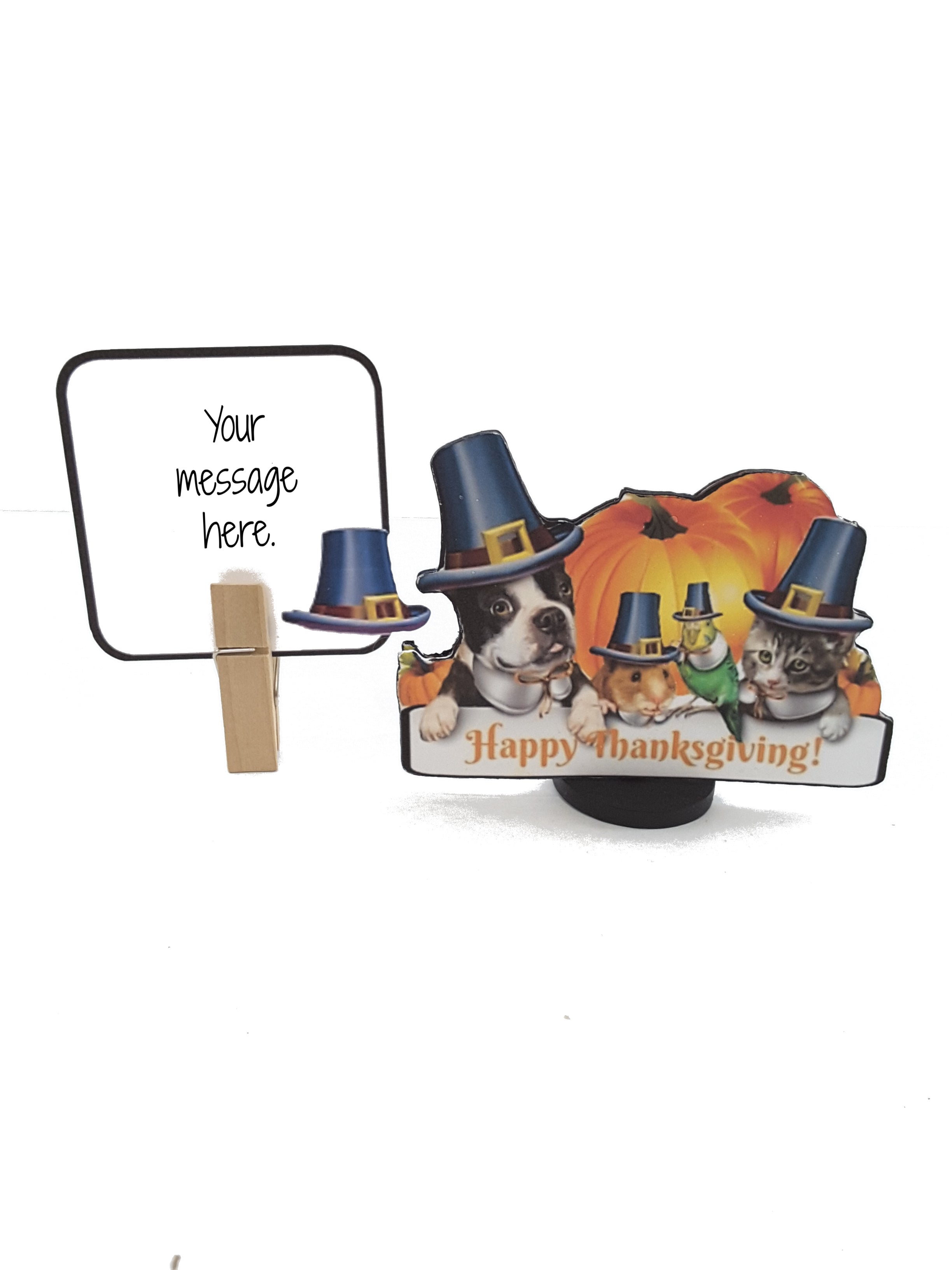 HAPPY THANKSGIVING FROM THE ANIMAL FAMILY 3D GREETING CARD GIFT - TheLastWordBish.com