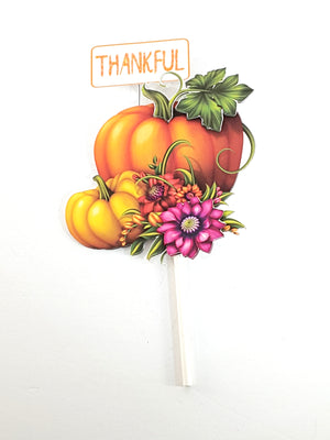 Thanksgiving or Autumn Thankful Pumpkin Cake Topper - TheLastWordBish.com