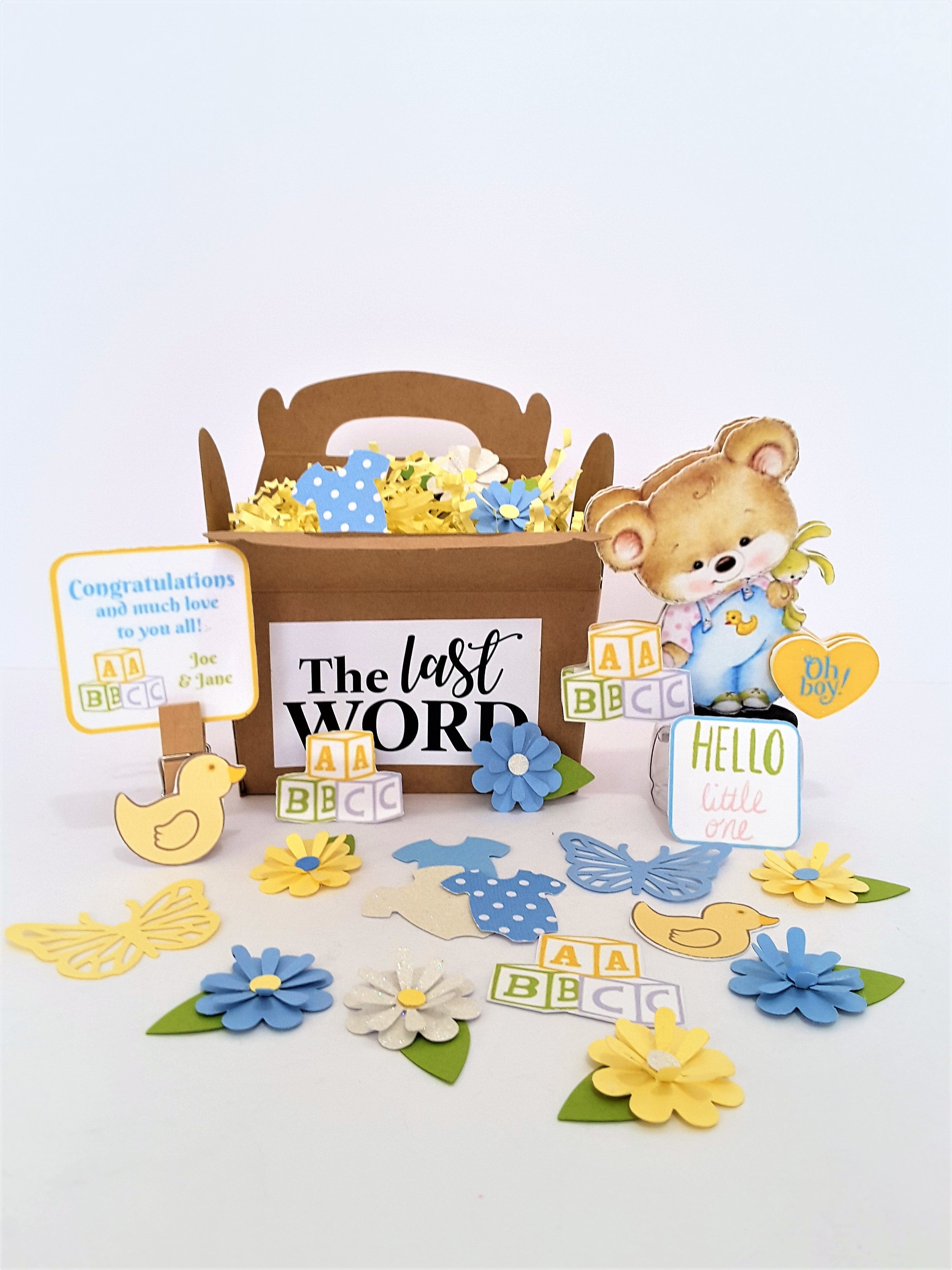 Baby Boy Congratulations or Birth Announcement Personalized 3D Card - TheLastWordBish.com