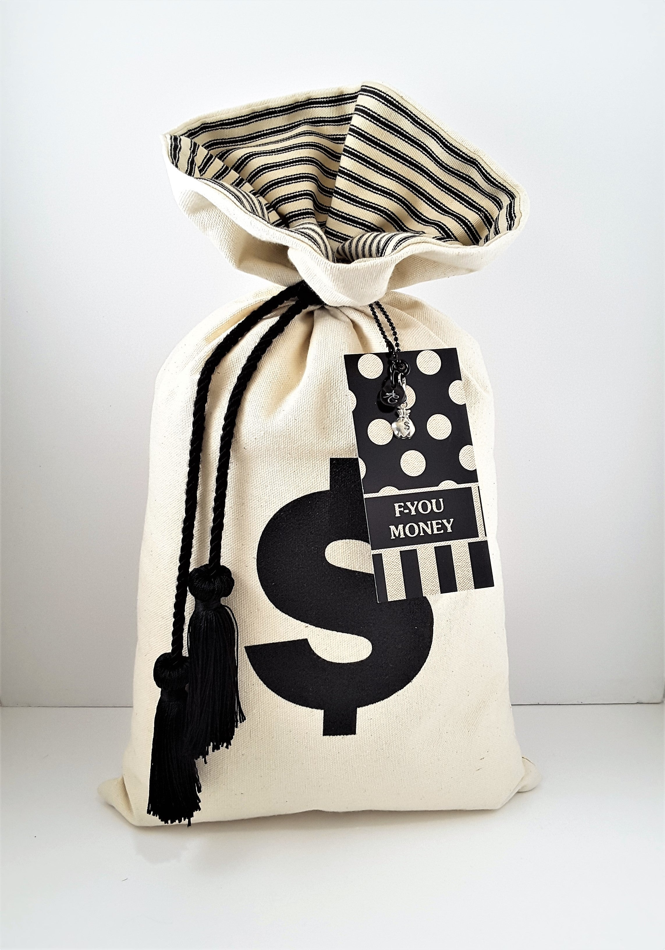 Another view of Prosperity Money Bag Pillow - front