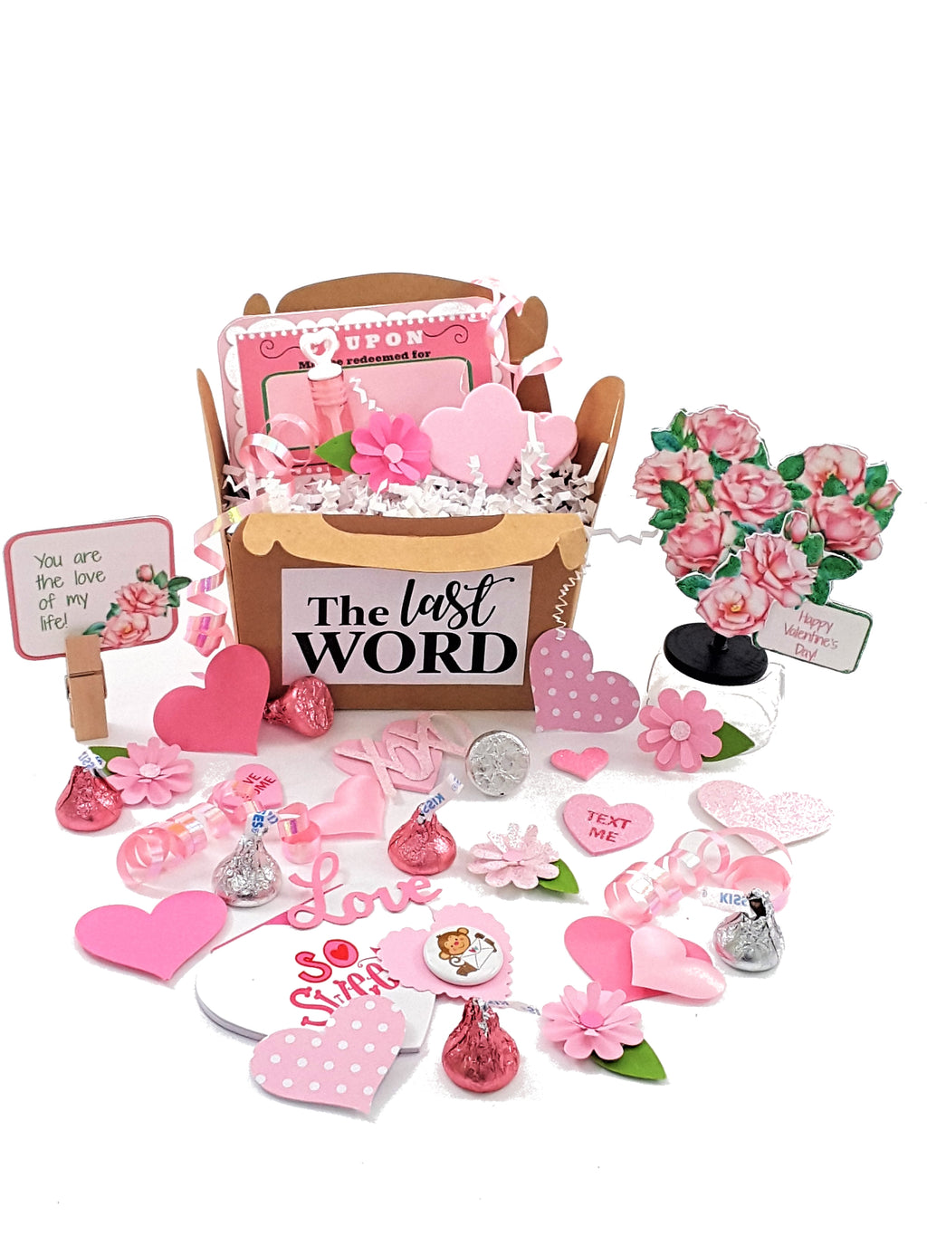 Pink Rose Heart Valentine's Day Stand Up Greeting Card - with goodies! - The Last Word Bish