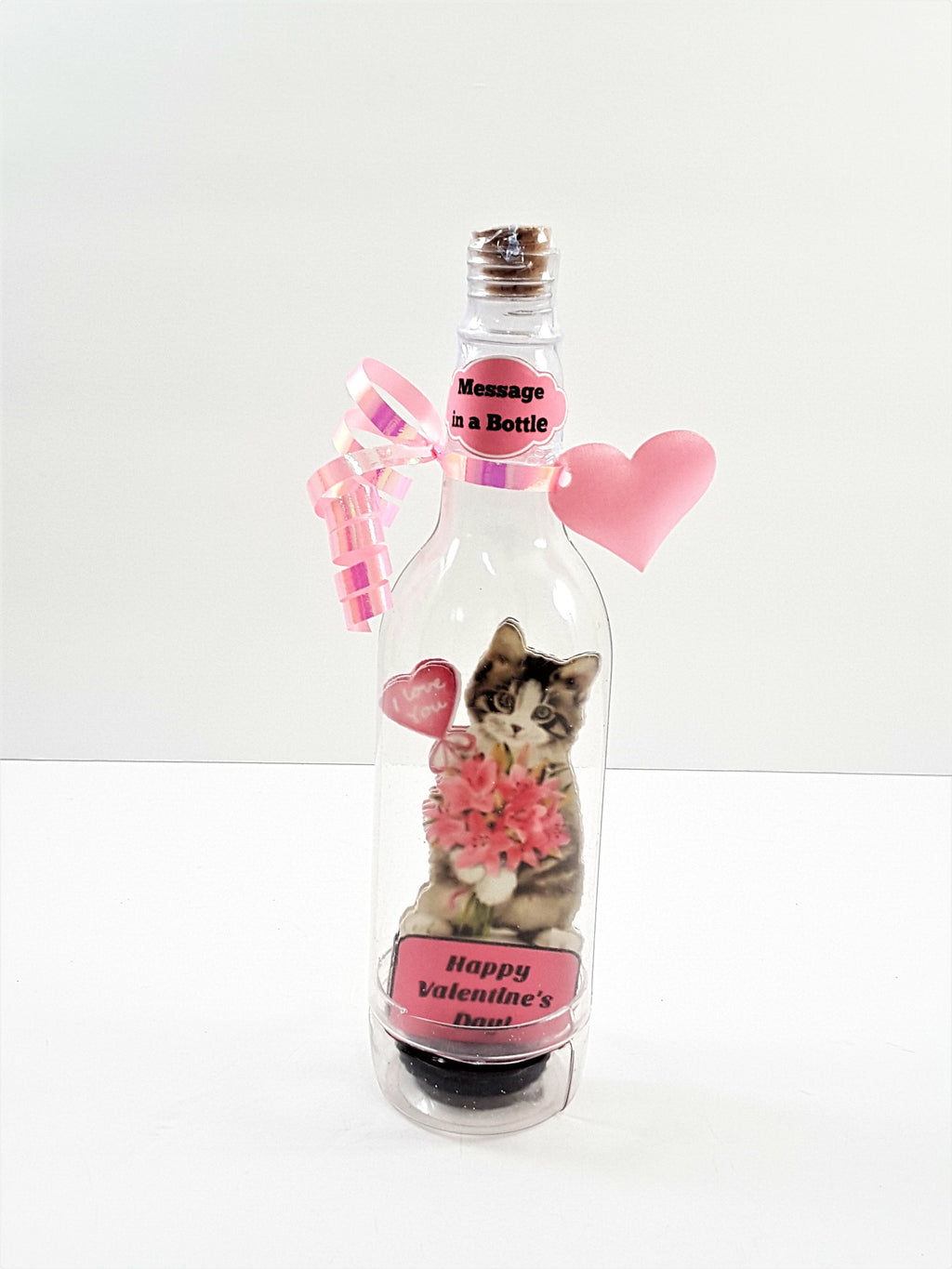 VALENTINE'S DAY 3D GREETING CARD - MESSAGE IN A BOTTLE - PRETTY I LOVE YOU KITTY