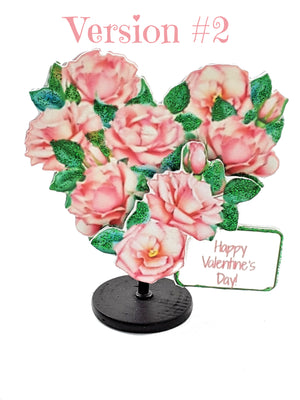 Pink Rose Heart Valentine's Day Stand Up Greeting Card - with goodies! - TheLastWordBish.com