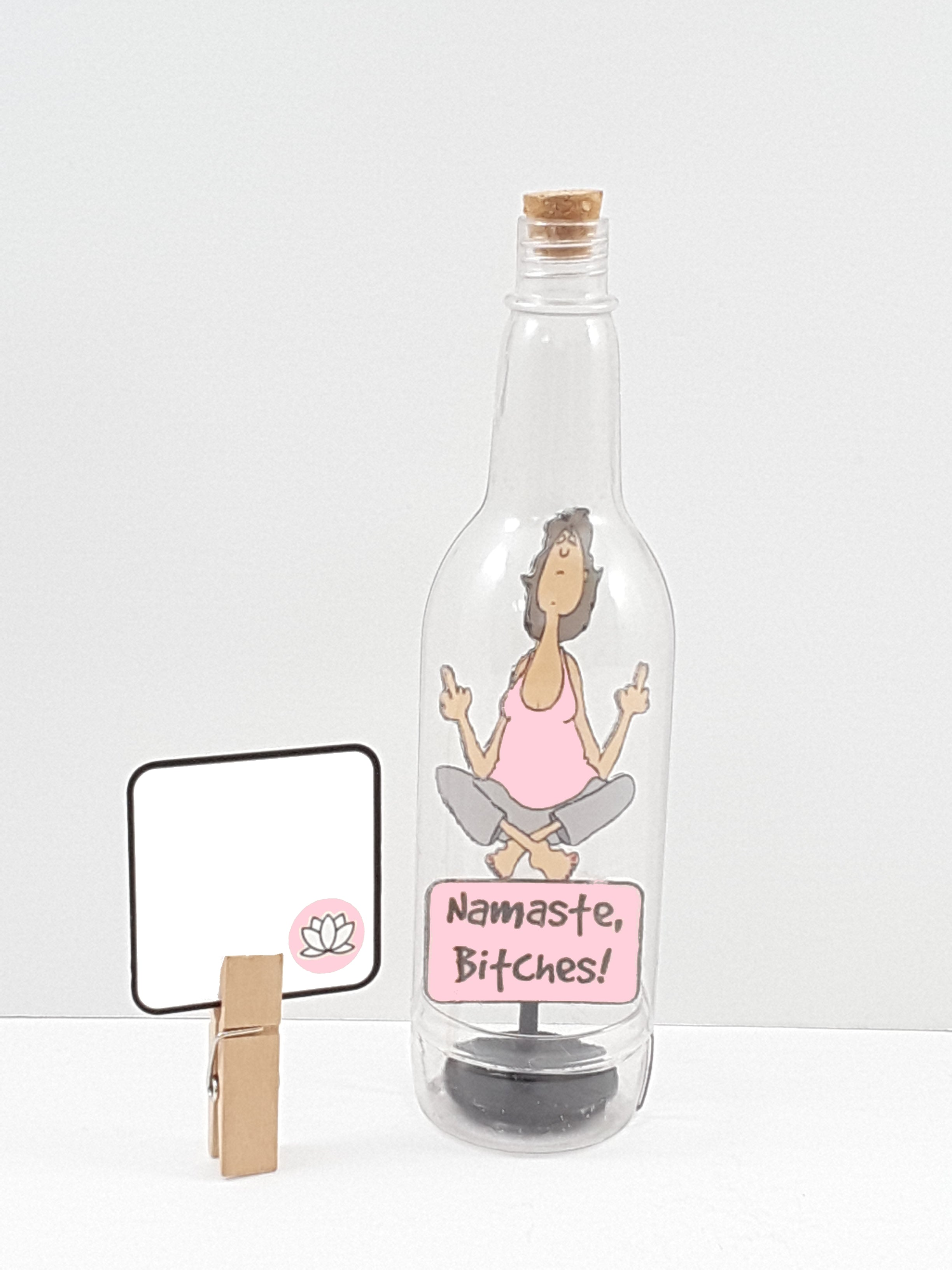 Message in a Bottle - 3D Yoga Lady Flipping the Bird All-Occasion Greeting Card & Gift - TheLastWordBish.com