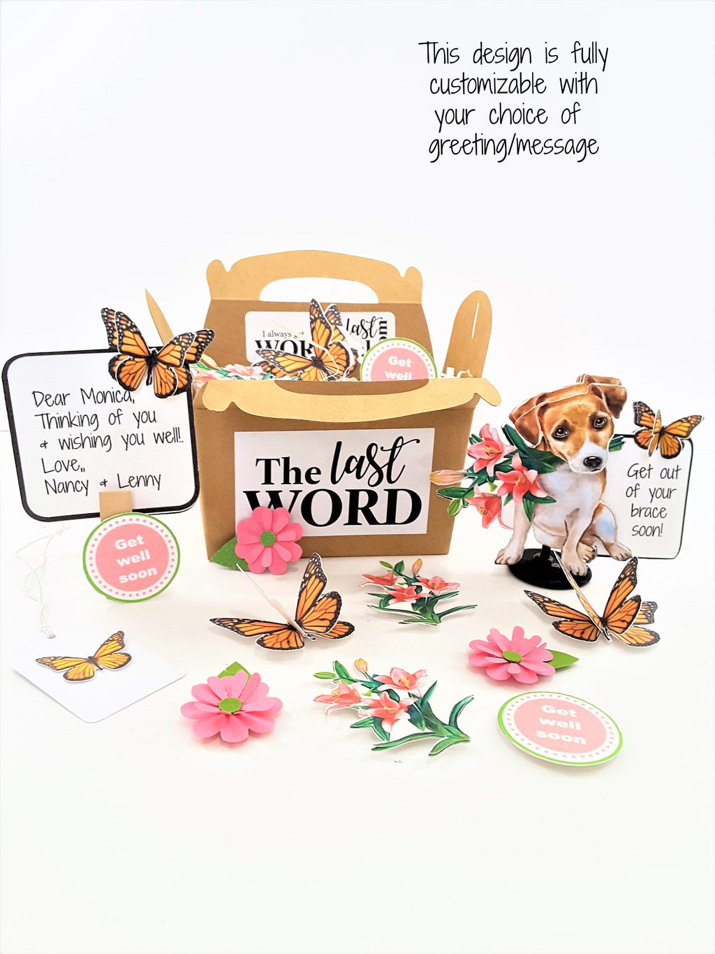 3D All-Occasion Card with Puppy & Flowers - The Last Word Bish