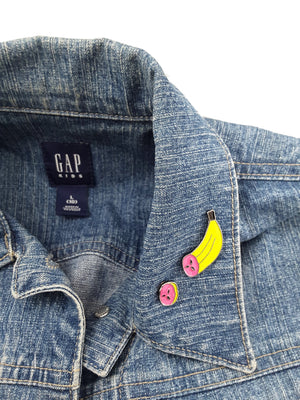 2-PIECE BANANA ENAMEL PIN SET ON DENIM JACKET