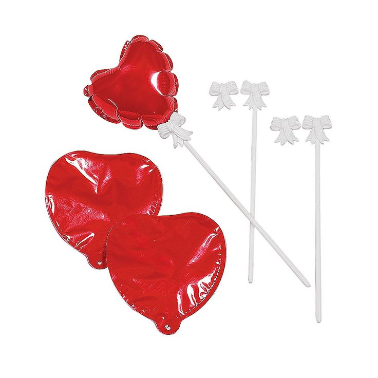Valentine Balloons - self-inflating red mylar with plastic stick - TheLastWordBish.com