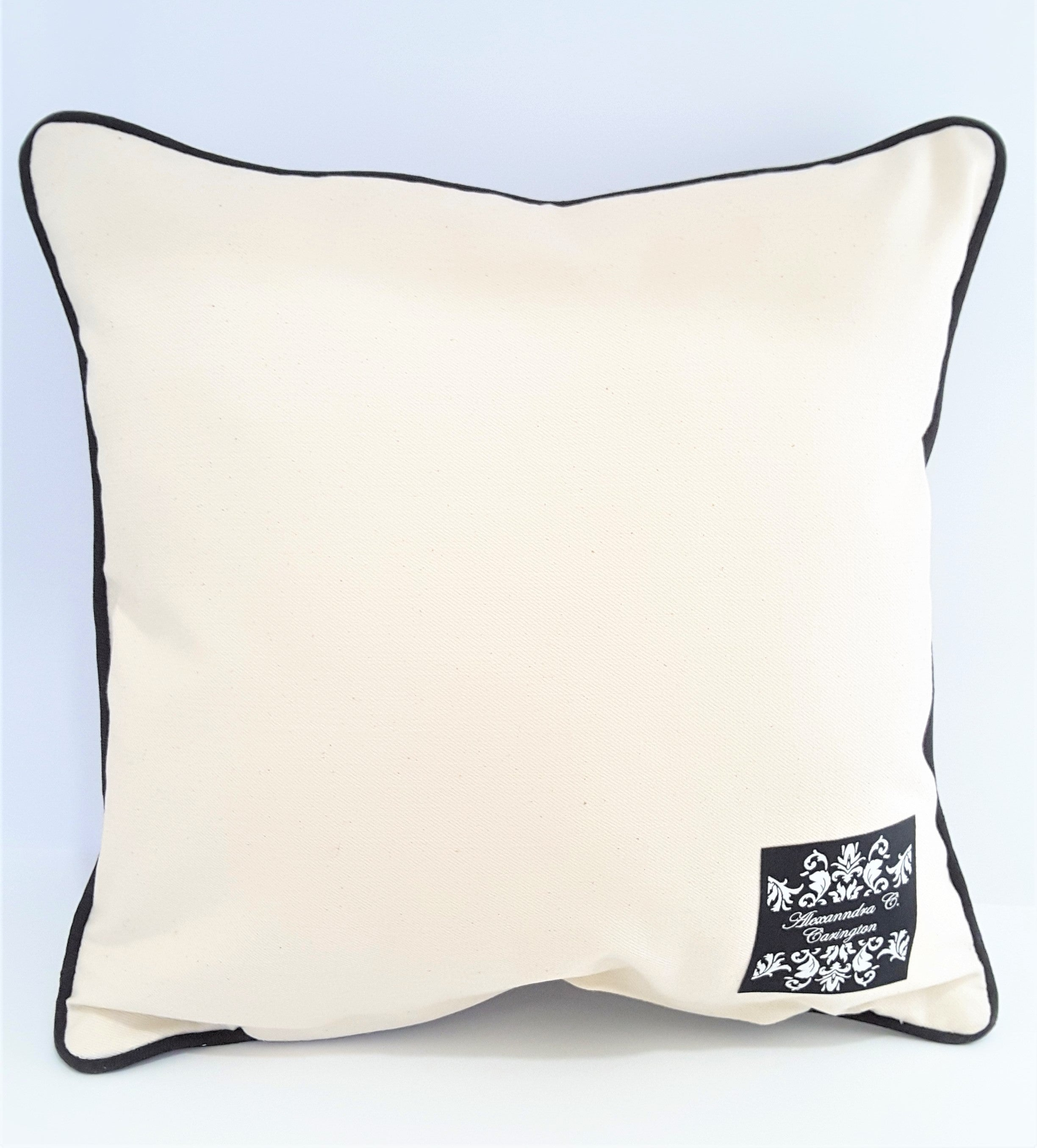 NATURAL DENIM BACK OF BLACK AND NATURAL STRIPE PILLOW