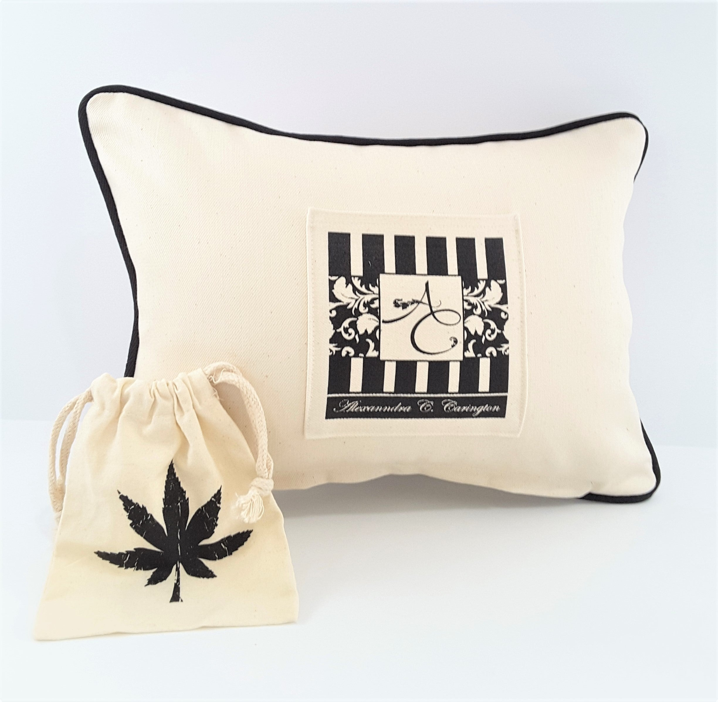 back of cannabis leaf pillow with pocket and pouch