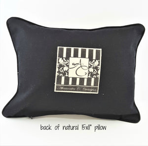 back of OH SO BLESSED natural denim pillow with pocket