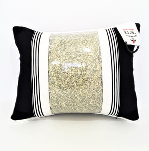 black & white Prosperity Pillow with shredded U.S. currency